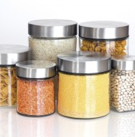 GLASS CANISTER, STAINLESS STEEL LID
