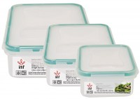 "3 PCS AIR TIGHT SQUARE LUNCH BOX SET ""LOCK"""