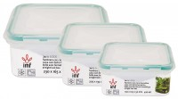"3 PCS AIR TIGHT RECTANULAR LUNCH BOX SET ""LOCK"