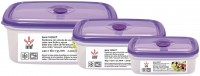 "3 PCS AIR TIGHT RECTANGULAR LUNCH BOX SET, WITH VACUUM VALVE ""VIOLET"""