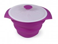 COLLAPSIBLE SILICONE FLAN MOULD WITH LID HAPPY LIFE